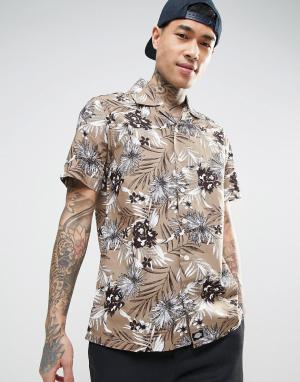 Dickies Рубашка классического кроя со сплошным цветочным принтом. Цвет: светло-серый