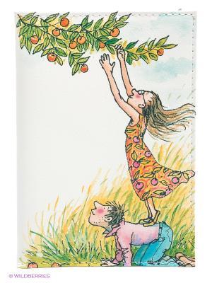 Обложка для автодокументов День сбора яблок Mitya Veselkov. Цвет: белый, зеленый, желтый