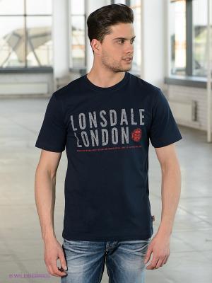 Футболка Lonsdale. Цвет: темно-синий