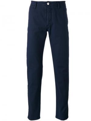 Классические брюки чинос Barba. Цвет: синий