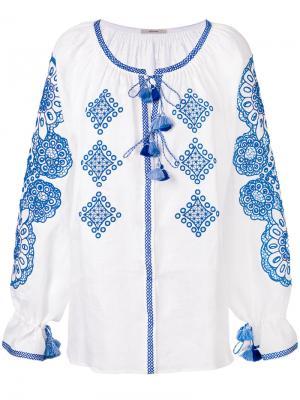 Топ с вышивкой и кисточками Vita Kin. Цвет: белый