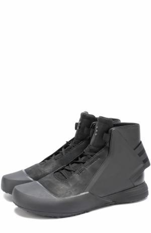 Высокие кожаные кроссовки BBall Tech Y-3. Цвет: черный