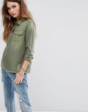 Hollister Рубашка в стиле милитари. Цвет: зеленый