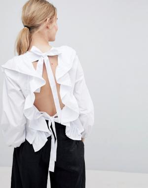 Style Mafia Блузка с открытой спиной и оборками. Цвет: белый