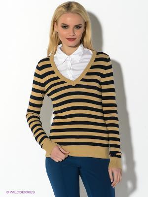Пуловер Oodji. Цвет: бежевый, черный
