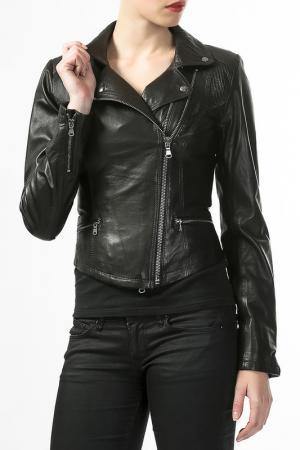 Кожаная куртка Antonella Favelli. Цвет: черный