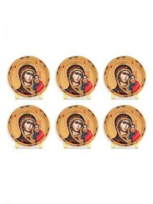 Набор из 6-ти декоративных тарелок Казанская Божья Матерь Elan Gallery. Цвет: золотистый, красный