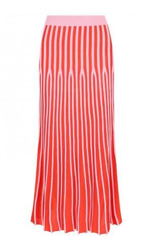 Вязаная плиссированная юбка-миди Kenzo. Цвет: розовый