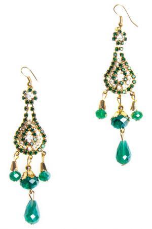 Earrings BELLA ROSA. Цвет: green, gold