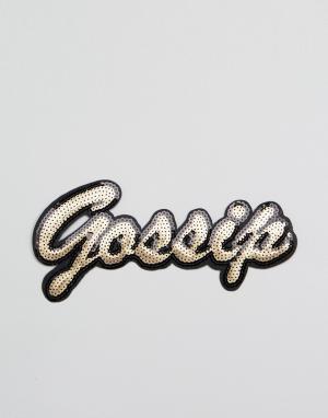 DesignB London Термонашивка с пайетками Gossip. Цвет: мульти