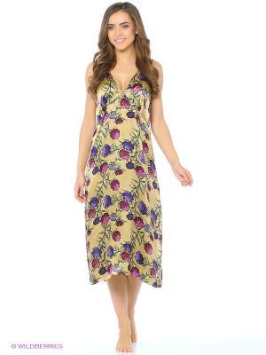 Ночная сорочка Del Fiore. Цвет: светло-бежевый, фиолетовый