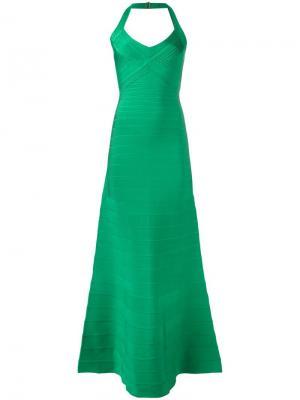 Платье макси в рубчик Hervé Léger. Цвет: зелёный