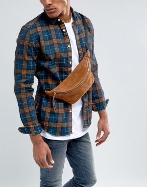 ASOS Светло-коричневая замшевая сумка-кошелек на пояс. Цвет: рыжий