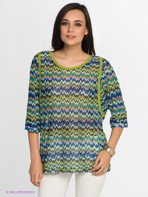 Блузка KEY FASHION. Цвет: зеленый, синий
