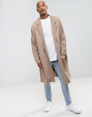ASOS Длинное легкое трикотажное пальто в стиле oversize. Цвет: бежевый
