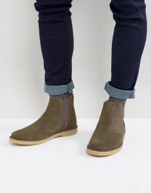 Zign Замшевые ботинки челси цвета хаки. Цвет: зеленый