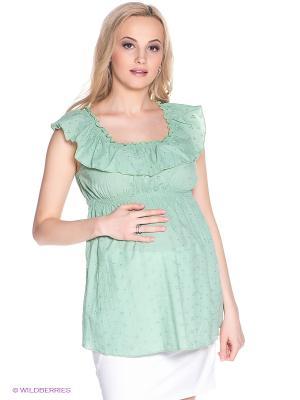 Блузка для беременных 40 недель. Цвет: светло-зеленый