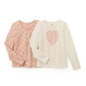 Комплект из 2 футболок с длинными рукавами, 3-12 лет La Redoute Collections. Цвет: розовый + экрю