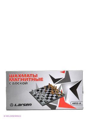 Шахматы магнитные с доской Larsen. Цвет: серый, черный