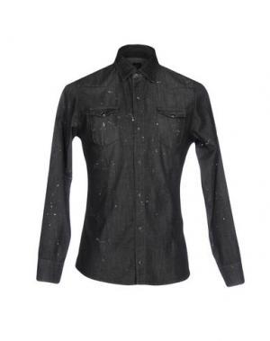 Джинсовая рубашка DANIELE ALESSANDRINI. Цвет: стальной серый