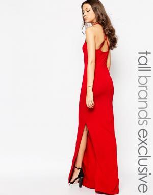 Taller Than Your Average Платье макси с перекрестной спинкой TTYA. Цвет: красный