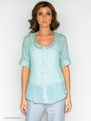 Блузка MILANO ITALY. Цвет: бирюзовый, светло-зеленый, синий