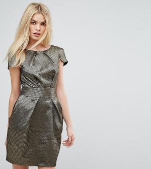 Closet London Золотистое жаккардовое платье-футляр. Цвет: золотой