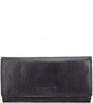 Однотонный кожаный кошелек Sergio Belotti. Цвет: синий