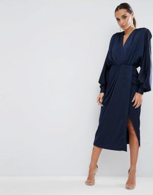 ASOS Платье миди с длинными рукавами и подплечниками. Цвет: темно-синий