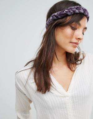 Rock 'N' Rose Бархатная плетеная повязка на голову N. Цвет: фиолетовый