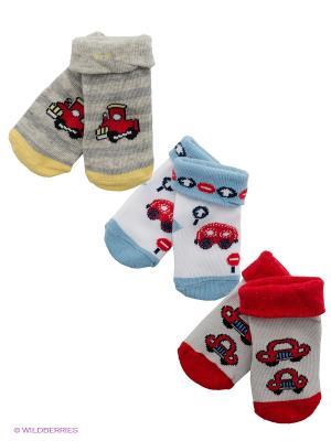 Носки, 3 пары Malerba. Цвет: белый, голубой, красный, желтый
