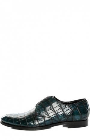 Туфли из кожи крокодила с набором аксессуаров Dolce & Gabbana. Цвет: зеленый