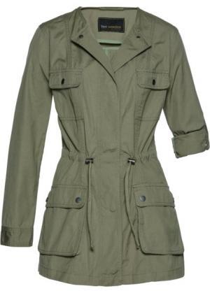 Удлиненная джинсовая куртка (оливковый) bonprix. Цвет: оливковый