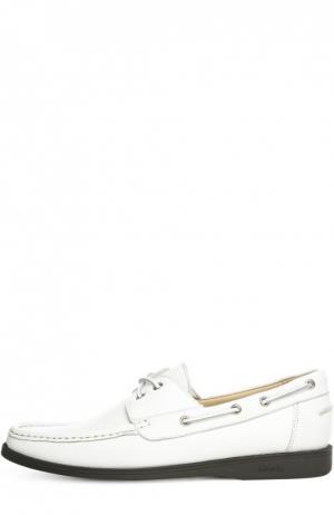 Кожаные топсайдеры на контрастной подошве A. Testoni. Цвет: белый