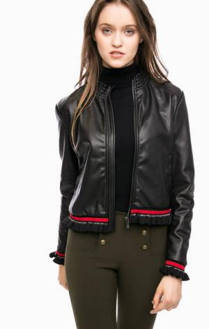 Куртка на молнии с трикотажными вставками Kocca. Цвет: черный
