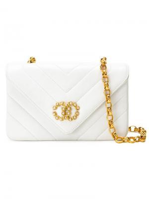 Стеганая сумка через плечо Chanel Vintage. Цвет: белый