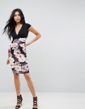 Jessica Wright Облегающее платье с принтом на юбке. Цвет: мульти