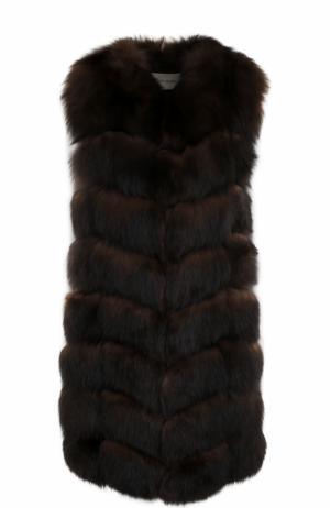 Удлиненный жилет из меха лисы Yves Salomon. Цвет: коричневый