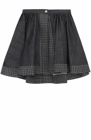 Джинсовая мини-юбка с металлизированной отделкой Alaia. Цвет: темно-синий
