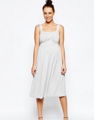 ASOS Maternity Платье миди для беременных. Цвет: серый