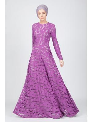 Платье макси Лепестки из гипюра фиолетовое Bella kareema