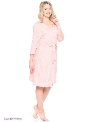 Комплект домашней одежды (халат, ночная сорочка) HomeLike. Цвет: персиковый