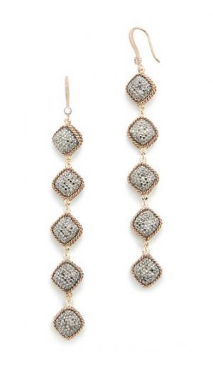 Пятиуровневые крупные серьги, украшенные вручную Theia Jewelry. Цвет: состаренное золото/гематит