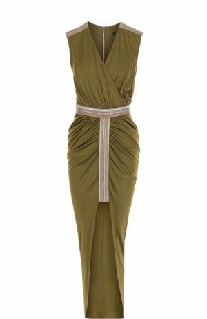 Приталенное платье с высоким разрезом и драпировкой Balmain. Цвет: хаки