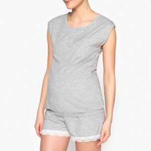 Пижама для периода грудного вскармливания La Redoute Collections. Цвет: серый меланж