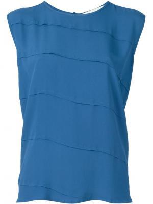 Блузка без рукавов 8pm. Цвет: синий