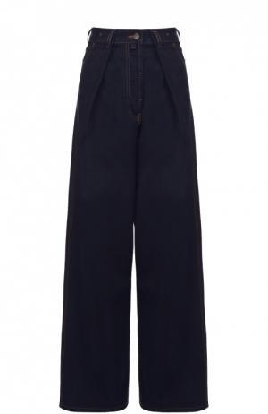 Широкие джинсы с завышенной талией и защипами Dries Van Noten. Цвет: синий