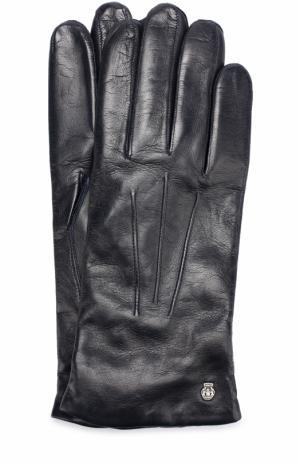 Кожаные перчатки с подкладкой из смеси кашемира и шерсти Roeckl. Цвет: темно-синий