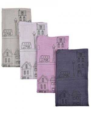 Пеленки  (4 шт.) Sebra. Цвет: фиолетовый
