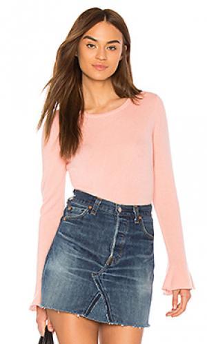 Fluted cuff sweater White + Warren. Цвет: розовый